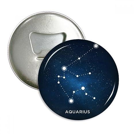 Acuario signo del zodiaco constelación redondo abridor de botellas imán para frigorífico Insignia Botón 3Pcs regalo