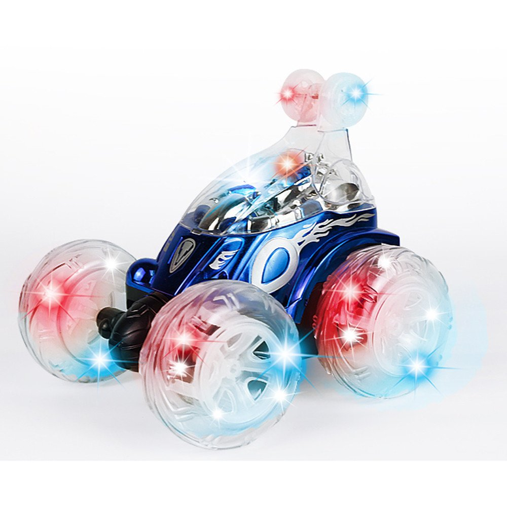 360 Spinning And Flips Remote Control Truck, Rc Rolling Stunt Car With Led Lights And Music (Blue)