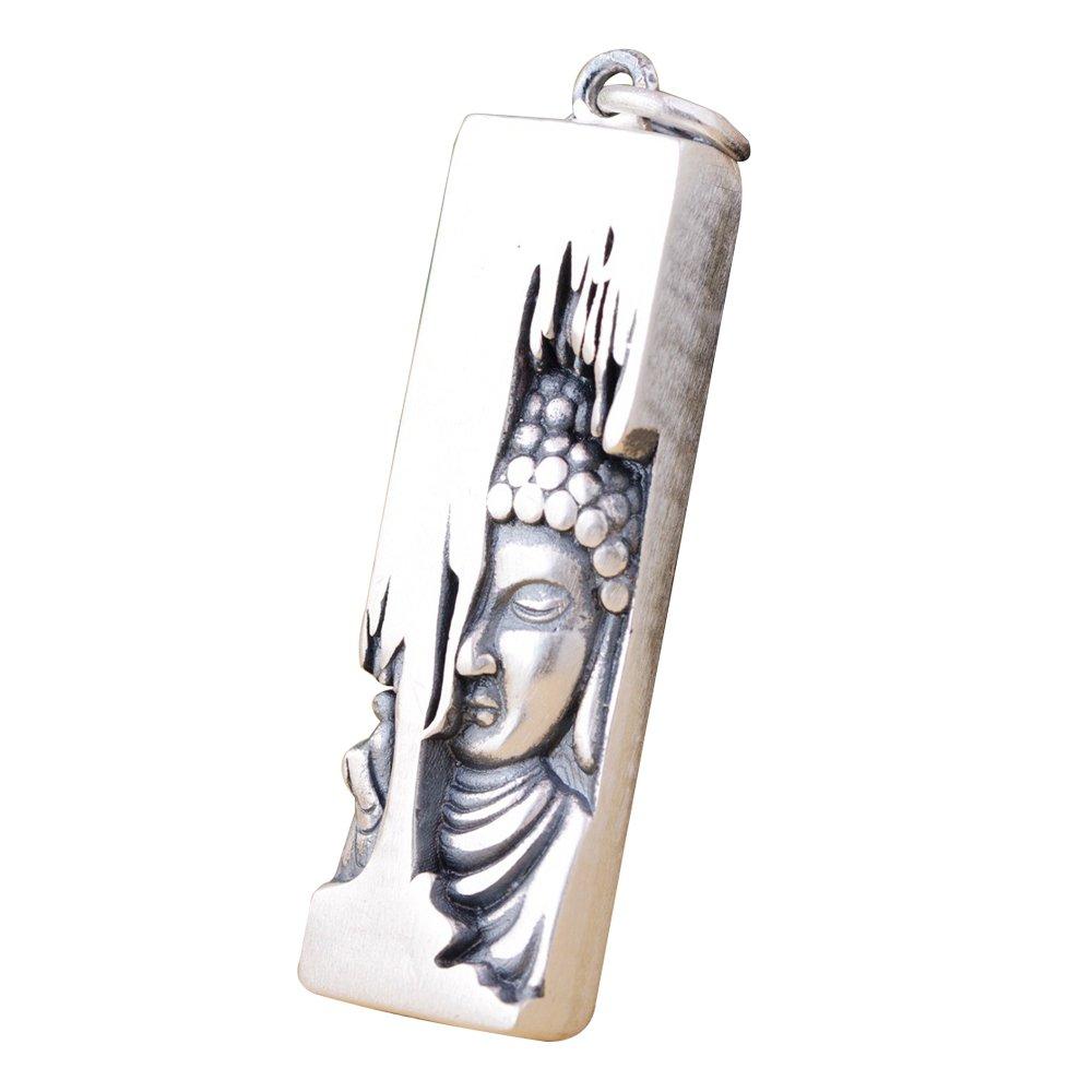 Ciondolo buddha Sakyamuni fondotinta buddista in argento sterling 990 vintage per uomo donna