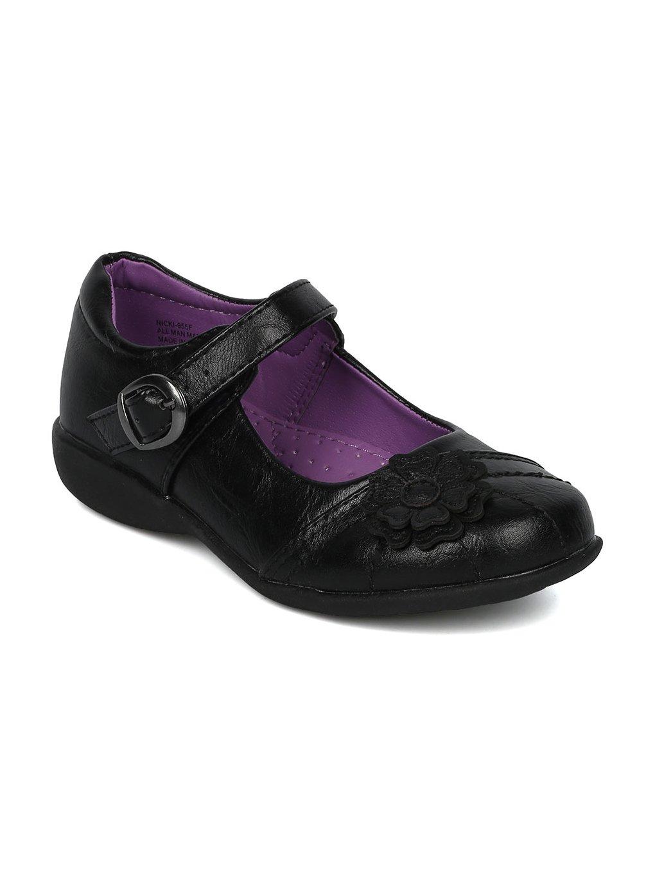 Alrisco Girls Leatherette Flower Detail Mary Jane Uniform Shoe HC38 - Black Leatherette (Size: Little Kid 2)