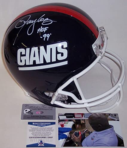 f0d876f82 Image Unavailable. Image not available for. Color  Lawrence Taylor -  Autographed Full Size Riddell Football Helmet - New York Giants ...