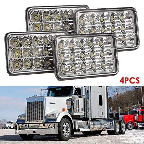 4PCS 6x4 LED Headlights 4x6 Rectangular Headlamp H4 Socket Hi/Lo Sealed Beam for Kenworth W900B W900L T800 T400 T600 Replace H4651 H4652 H4656 Assembly, 2 Yr Warranty