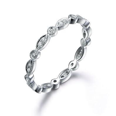 5dea30e75d33b Full Eternity Diamond Wedding Ring,14k White Gold,Anniversary,Infinity  Ring,Art Deco Antique,Matching Band