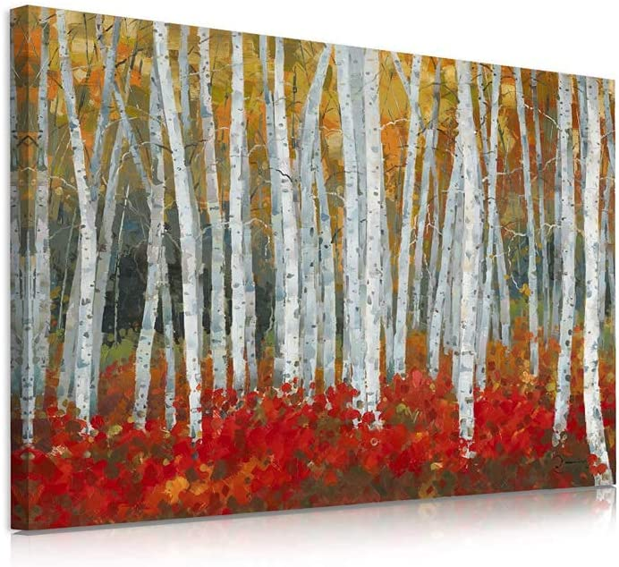 B BLINGBLING Birch Tree Wall Art Picture: White Birch Trees with Yellow Leaves Red Brushwood Fall Decor for Home with Frame and Easy to Hang (12