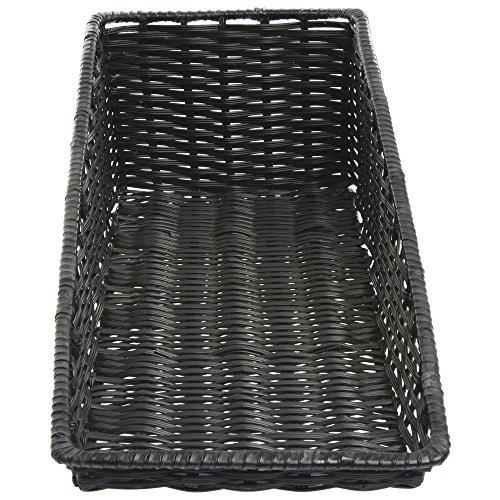 Wicker Look Tapered Storage Basket, Rectangular Black- 11 1/2