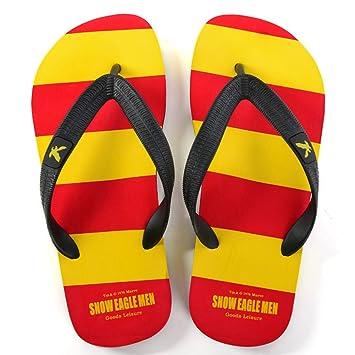 QIDI Sandalen Kunststoff Sommersaison Streifen Sandalen Farbblock Männer Flacher Boden Strandschuhe Hausschuhe (Farbe : T2, größe : EU41/UK7.5-8)