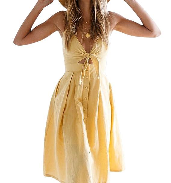 WOZNLOYE Sommer Kleider Damen Sexy Bandagen V Ausschnitt Ärmellos  Trägerkleid Midi Kleid Partykleider Fashion Einfarbig Rückenfrei 0e9387cae3