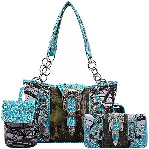 - Western Style Camouflage Concealed Carry Purse Buckle Country Studs Women Handbag Shoulder Bag Wallet Set (Turquoise Set)