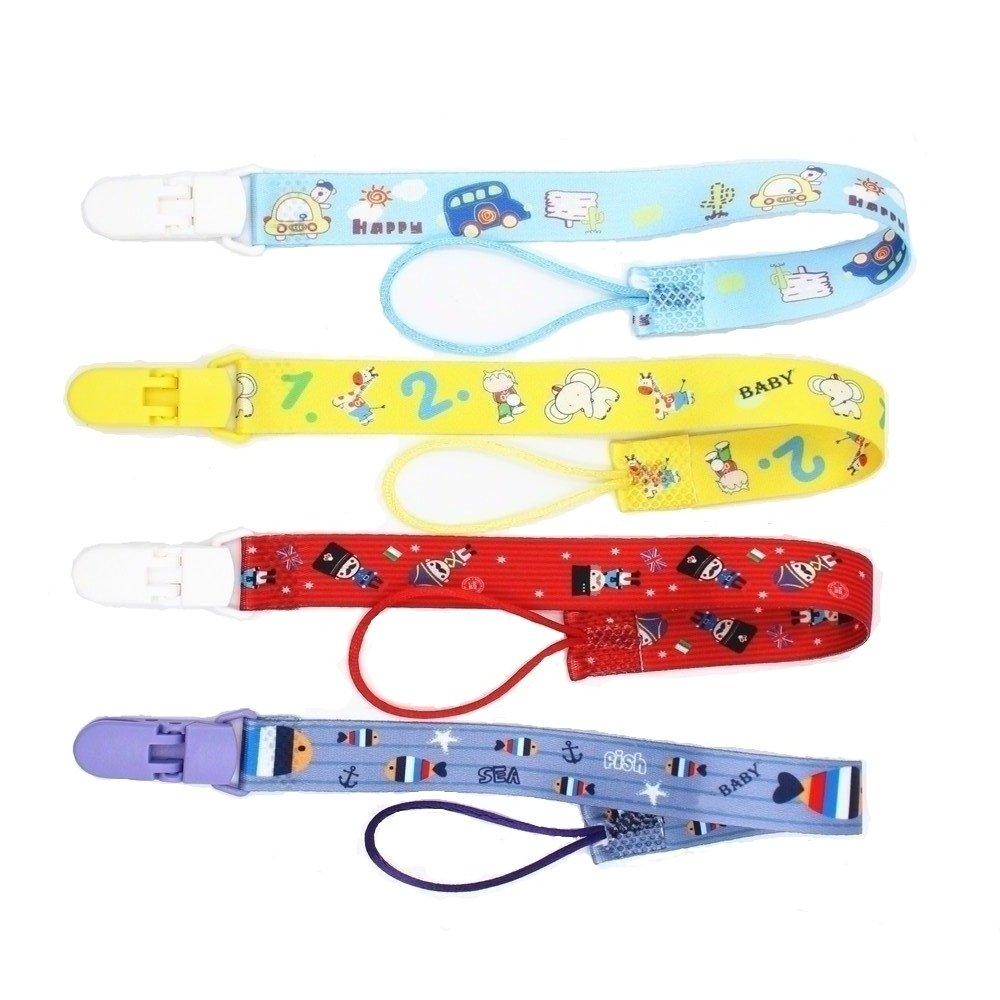 Baby Dummy Clips, Gutedeal 4 Pack Pacifier Holder Pacifier Clips, BPA Free Teething Ring Holders, Colourful Baby Pacifier Clip Holder Set for Boys and Girls