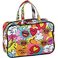 iscream Love 2 Laugh 12.25 x 8.25 Double Handle Zippered Cosmetic Bag