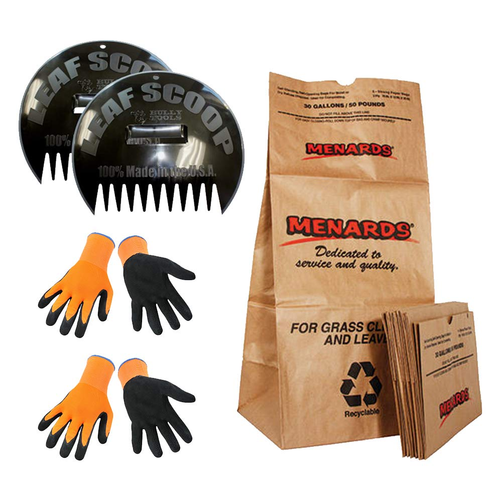 Leaf Scoops Bundle with 10 Lawn Bags and 2 Pairs of Bright Orange High Dexterity Working Gloves (Medium & Large)