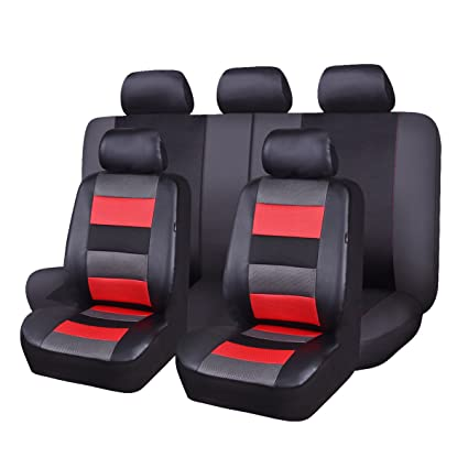 Flying Banner 11 PCS Full Set Universal Car Seat Covers Blue Faux Leather Polyester Sponge Cushioned fit Car Truck Van SUV