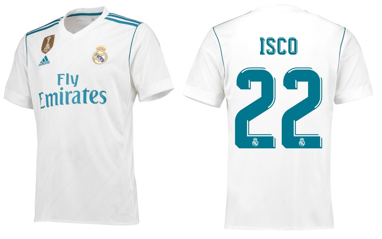 20bf6635d9f Men s Football Shirt Isco Real Madrid 2017 2018 Home Toilet 22   Amazon.co.uk  Sports   Outdoors
