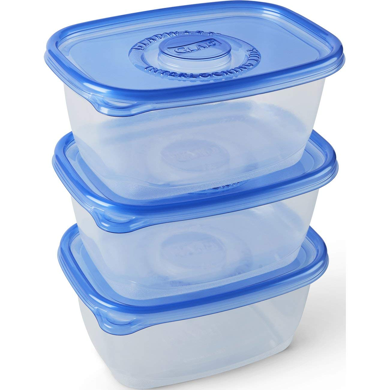 Glad Food Storage Containers - Deep Dish Container - 64 Ounce - 3 Containers