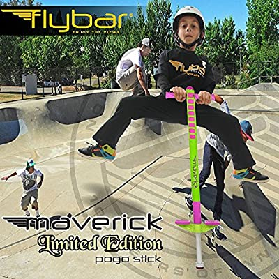Flybar Limited Edition Foam Maverick Pogo Stick for Kids - Two New Rubber Hand Grips (Lime/Purple): Toys & Games