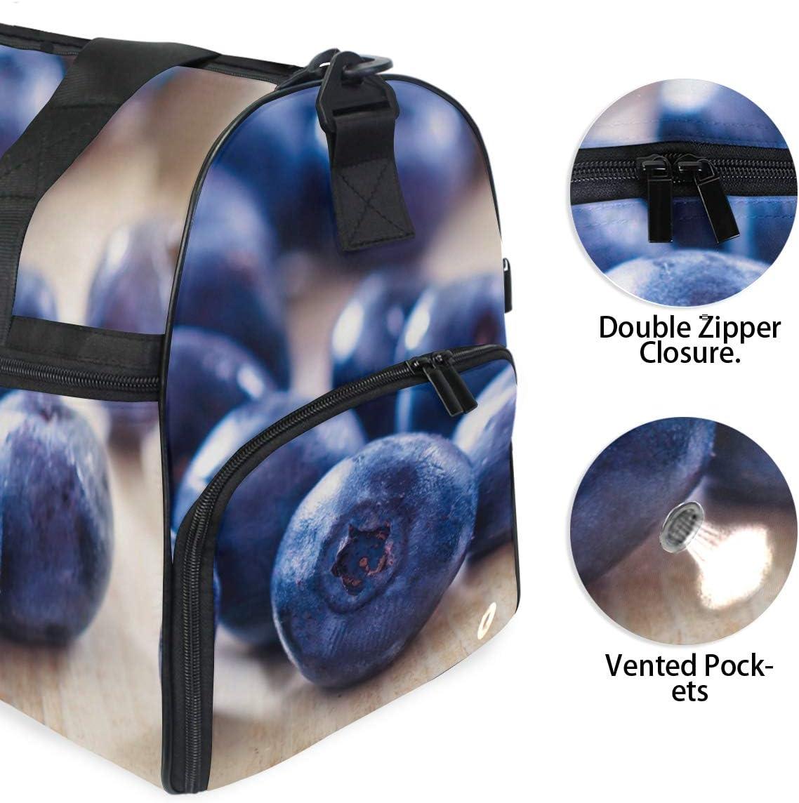 MALPLENA Fresh Fruit Blueberry Pattern Packable Duffle Bag For Men Women Tear Resistant Sports Duffle