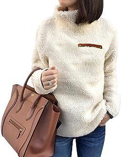 Fashion Ladies Soft Fleece Warm Manica Lunga Collo Alto Patchwork Cerniera Maglione Camicetta S-XL