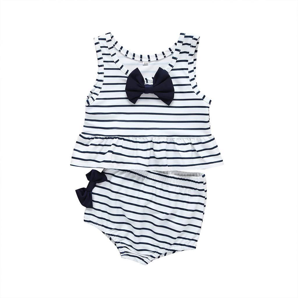 Ruffles Bow Tops Shorts Bathing Suit for 0-4 Years DWQuee 2PC Baby Girls Bikini Set