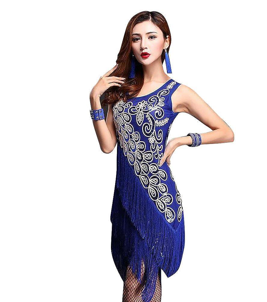 NiSeng Donne frange di paillettes danza latine gonne abiti da ballo latino vestiti ballo