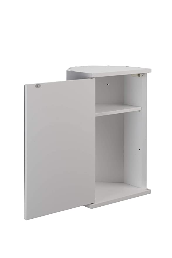 Croydex Simplicity - Armario esquinero de 1 Puerta con Espejo (para Montar uno Mismo), Color Blanco