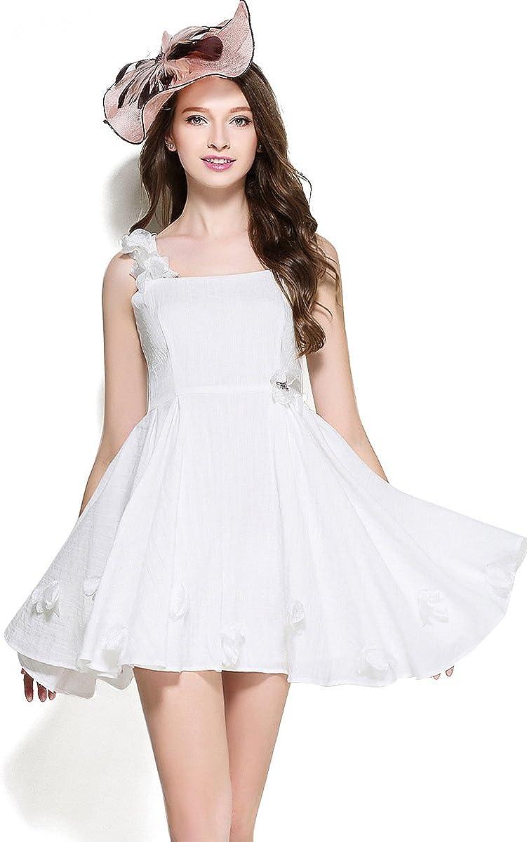 Anna.W Womens White Cotton Linen A-line Striped Temperament A-line Party Dress,Dancewear,Sundress