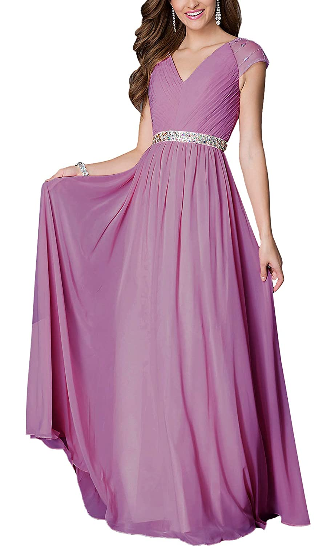 Aofur Womens V Neck Summer Casual Maxi Chiffon Dress Party Evening Gown Wedding Long Skirt