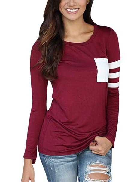 Camiseta de mangas largas para Las mujeres de moda, de costura de bolsillo redondo cuello