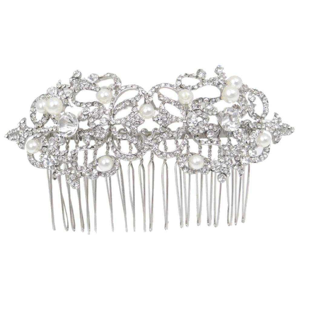 Ever Faith Bridal Silver-Tone Simulated Pearl Flower Leaf Clear Austrian Crystal Hair Comb B00027-1