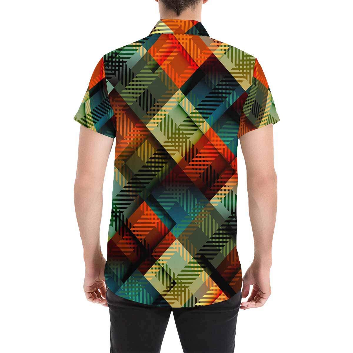 InterestPrint Colorful Plaid Casual Short Sleeve Shirt Regular Fit Summer Beach Shirts for Men