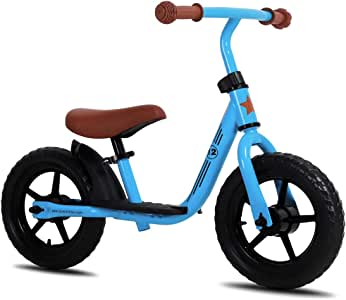 "JOYSTAR 10""/12"" Kids Balance Bike with Footrest for Girls & Boys, Ages 18 Months to 5 Years, Toddler Push Bike with Airless Tire and Adjustable Seat Height (Black Blue Green Pink)"