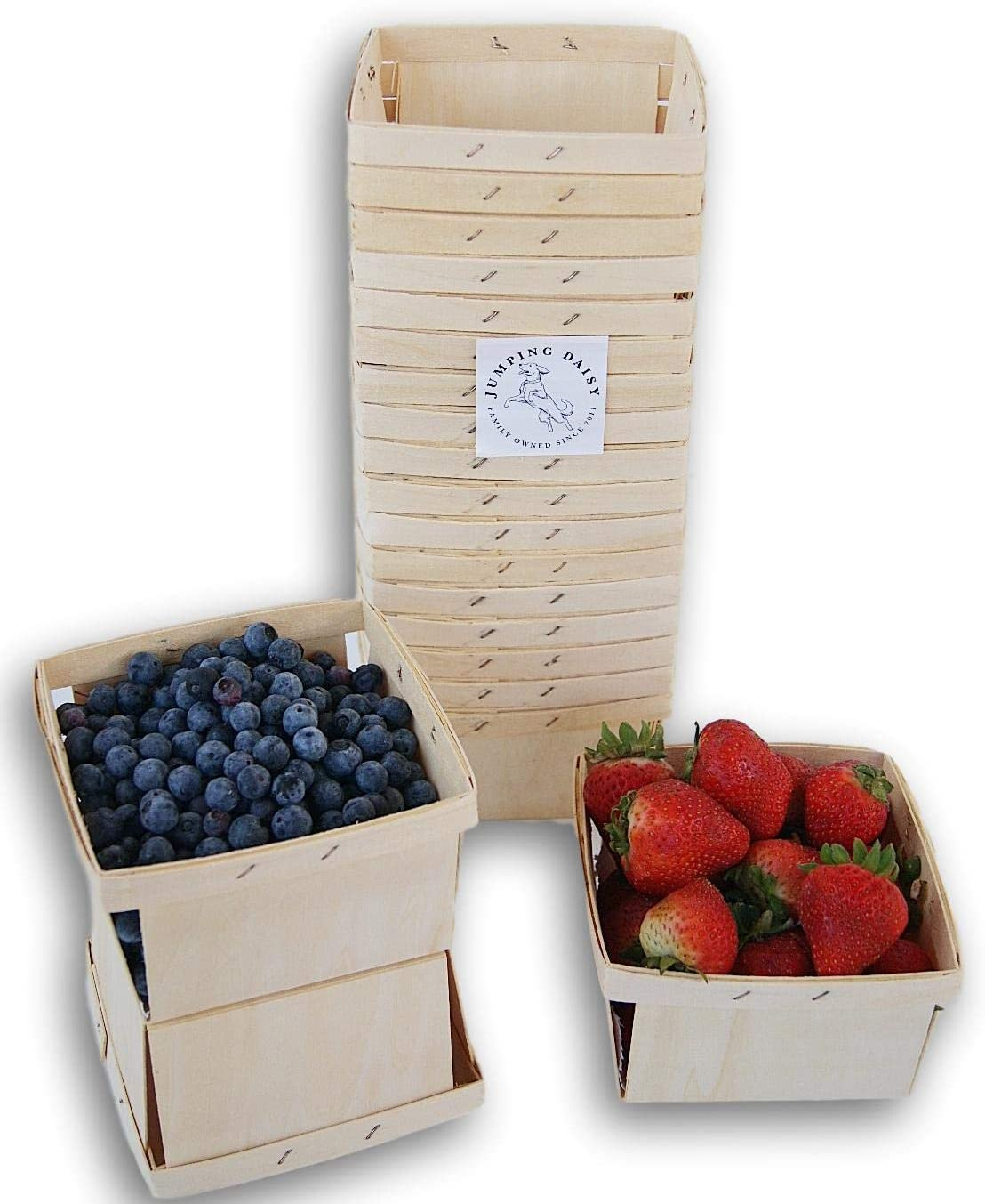 Quart Square Vented Wooden Berry Baskets - Set of 20