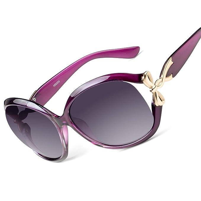 VEGOOS Mujer Oversized Gafas De Sol Polarizadas Protección UV400 Grande Marco (Morado)