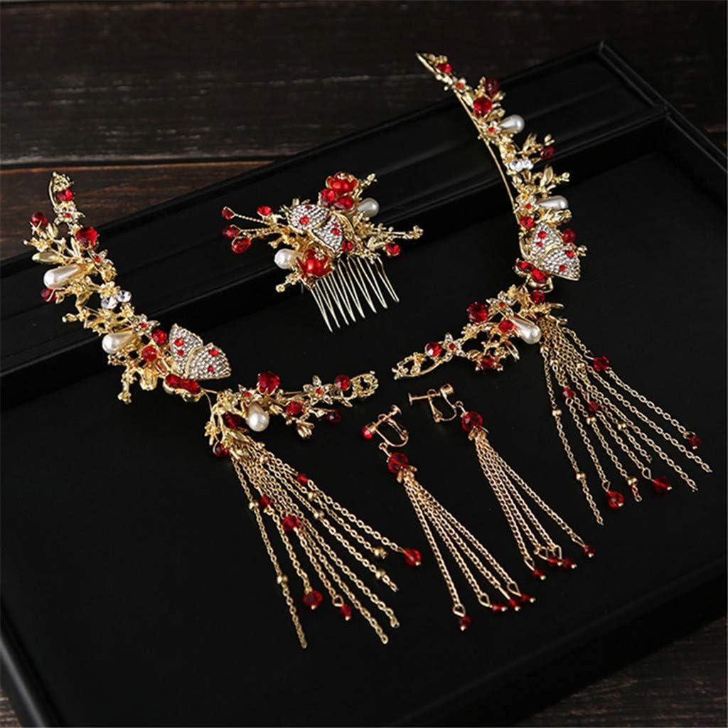 Muium Accessoires de cheveux Mari/éE Chinoise Couvre-Chef Costume Montrer Le Wo fu Rouge Style Ancien Se Marier Faire Accessoires Vestimentaires