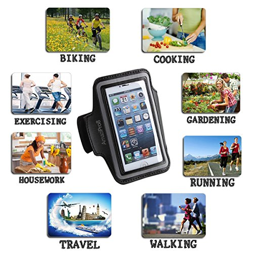 AmaziPro8 Sports Armband buildin Key Holder, Armband For iphone 6 Plus 6sPlus, Best iphone Armband For Running + FREE 5 Downloadable Health Books - Also Compatible for Samsung Note 3 & Note 4