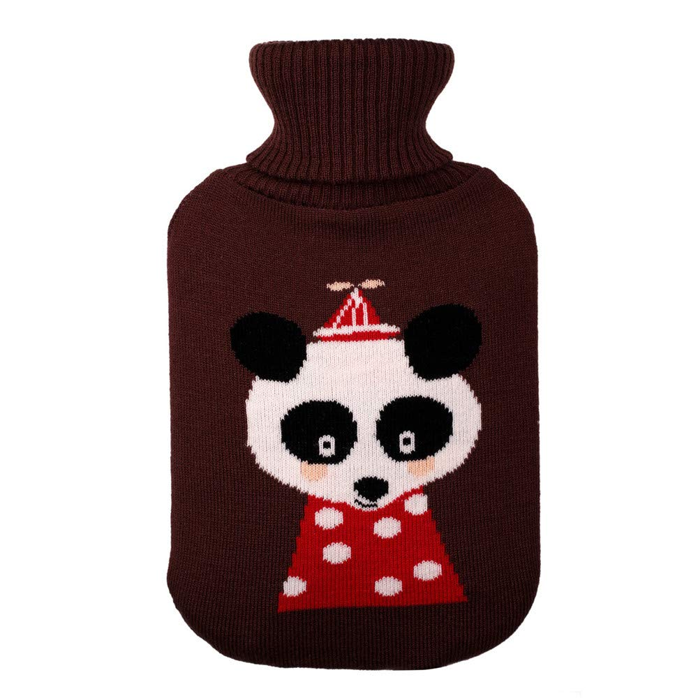 Sikye 2 Liter Hot Water Bottle Cover Soft Comfort Knitting Cute Cover,ONLY Cover - Portable, Reusable (D)