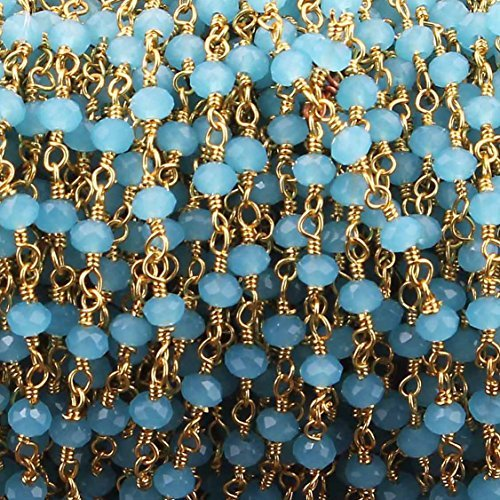 10 Feets Blue Aqua Chalcedony Rosary Beaded Chain -Blue Aqua Chalcedony Beads Wire Wrapped 24k Gold Plated Chain ()