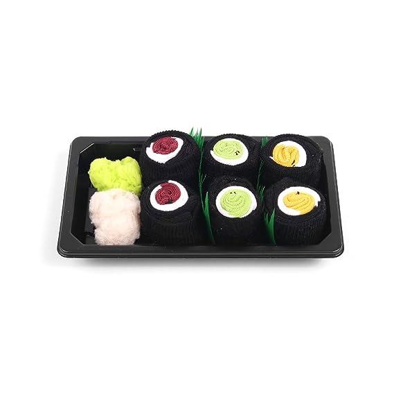 Sushi calcetines caja bebé 3 pares Maki atún Maki pepino Maki oshinko: Amazon.es: Ropa y accesorios