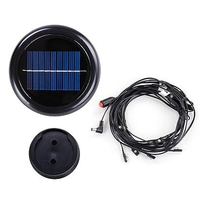 Yescom 8 Ribs Solar Powered 40 LED String Light for 8' 9' Patio Aluminum - Yescom 8 Ribs Solar Powered 40 LED String Light For 8' 9' Patio