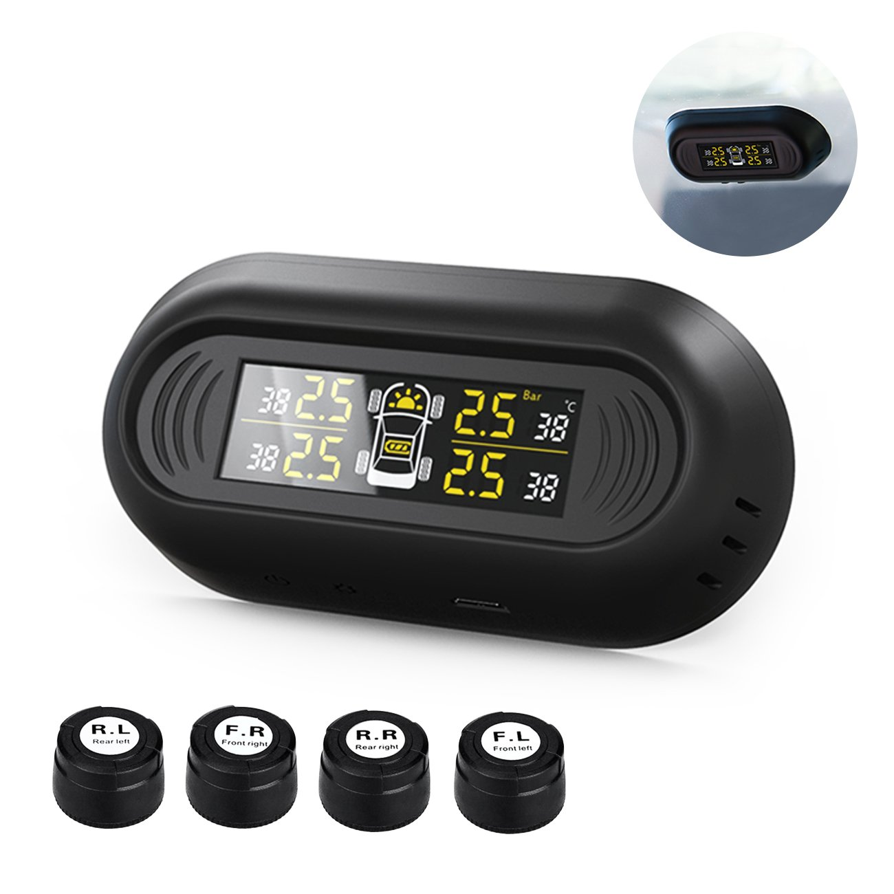 Favoto TPMS Tire Pressure Monitoring System Wireless Solar Power Installed on Window Pane with 4 External Sensors LCD Real-Time Display 4 Tires