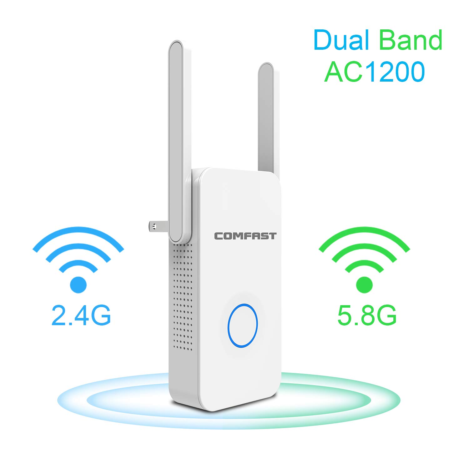 WiFi Range Extender   Up to 1200Mbps   WiFi Extender, Repeater, WiFi Signal Booster, Access Point   External Antennas Internet Booster