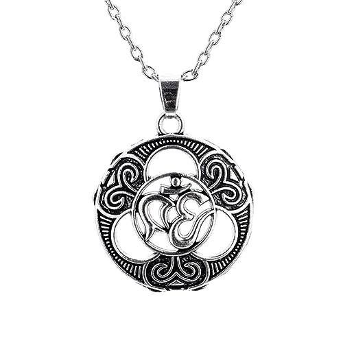 non-brand Negro Om AUM Símbolo Colgante Collar Yoga Encantos Hindú Amuleto Suerte Collar