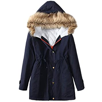 Qiusa Womens Winter Fleece Manga Larga con Capucha al Aire ...