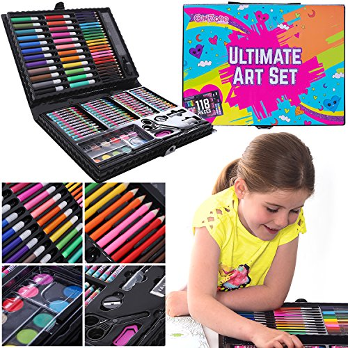 ba20a4b9e GIFTS FOR GIRLS: 114 Piece Art Set With Carry Case, Birthday Gift Present -
