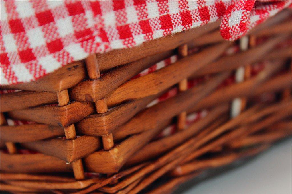Oypeip Wicker Basket Gift Baskets Empty Rectangle Willow Woven Picnic Basket Cheap Easter Candy Basket Storage Basket Wine Basket with Handle Egg Gathering Wedding Basket (Auburn) by Oypeip (Image #5)