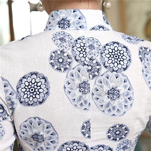 ACVIP Sieben Blumen Damen Cheongsam Drucken Ärmel Schlitz Schlank Kunst Punkte FrIFxq54