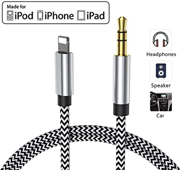 Image ofCable Auxiliar para iPhone Cable Auxiliar para Auto a Jack de 3.5mm para iPhone 11/Pro/8/7/Plus/XS/XR a Radio de Coche/Adaptador de Altavoz/Auriculares Compatible con Todos los iOS - Plateado Negro