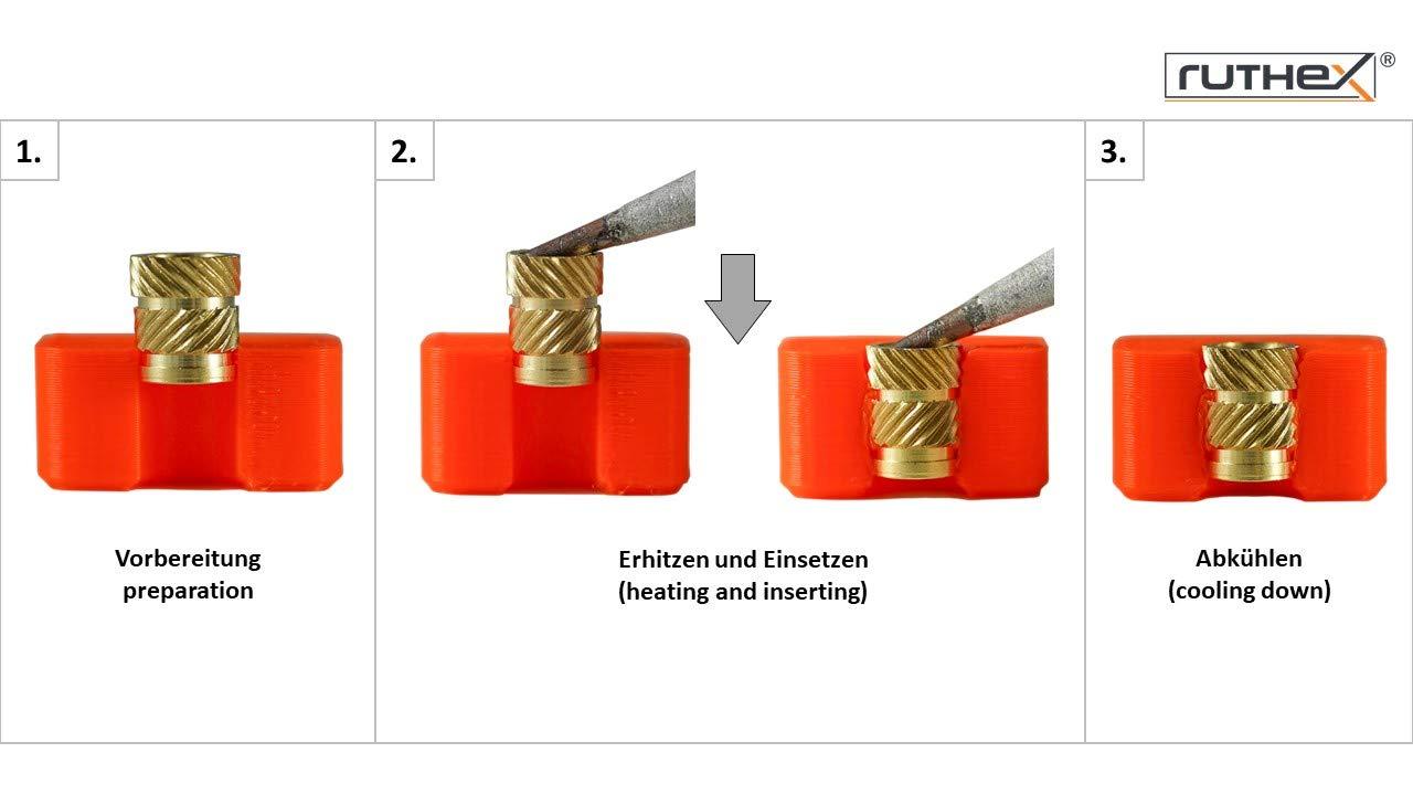 ruthex/® Gewindeeinsatz M3//M4//M5 Bundle M3 // M4 // M5 Bundle Einpressmutter f/ür Kunststoffteile | Messing Gewindebuchsen durch W/ärme oder Ultraschall in 3D-Drucker Teile je 50 St/ück