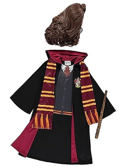 acquisto economico 2bcc0 95728 Ragazze Grifondoro Hermione Granger Costume in Maschera Robes, Bacchetta,  Sciarpa e Parrucca per L'Anno 5-12 (5-6)