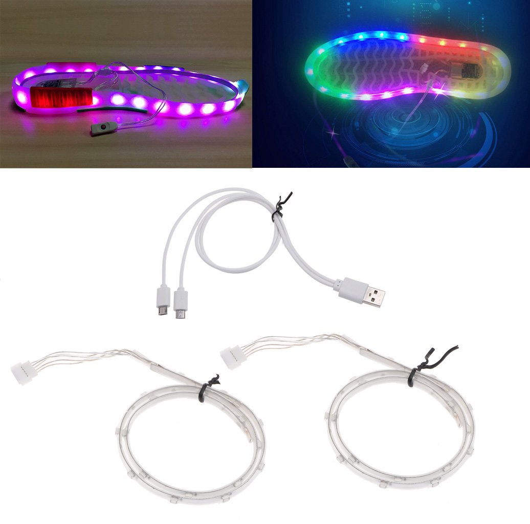 nerverko 1ペア防水USB LEDストリップの靴装飾、smd3528チップLED RGBライト B0744JBTGN 17218