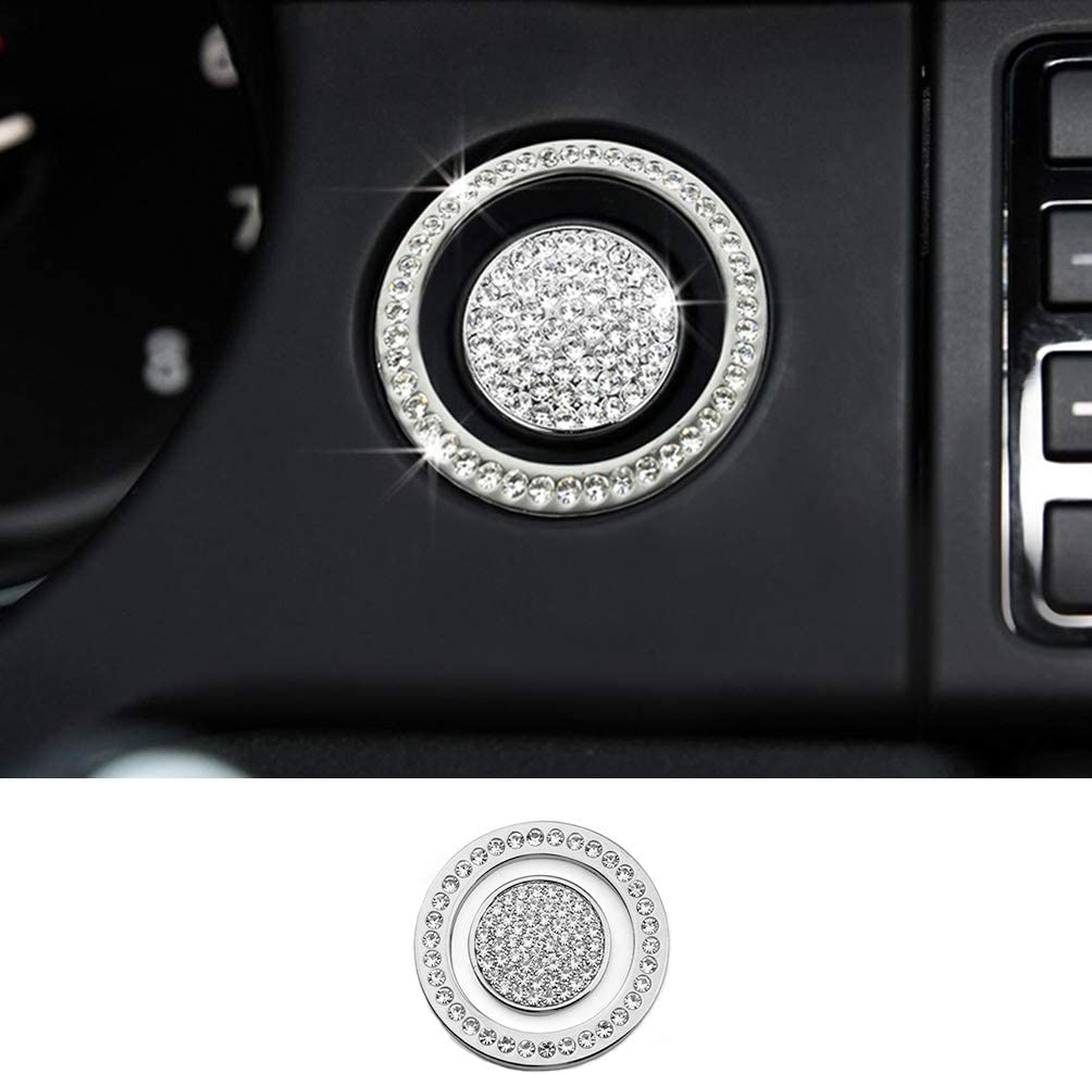 TopDall Crystal Bling Auto Start Engine Ignition Button Knob Ring Silver Sticker Compatible with Land Rover